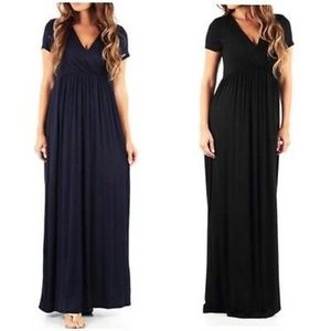 Rags & Couture Ruched Maxi Dress Blue Large